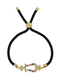 Fashion Hna Copper Inlaid Zircon Black Cord Adjustable Bracelet