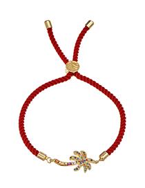 Fashion Coconut Tree Copper-set Zircon Red Cord Adjustable Bracelet