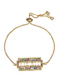 Fashion Blade Copper Inlay Zircon Gold Adjustable Bracelet