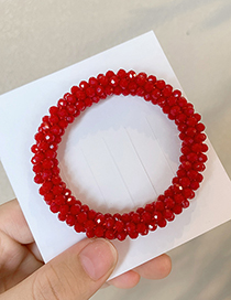 Fashion Red Crystal Handmade Beaded High Elastic Hair Rope