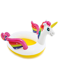 Bebé Unicornio Jugando En La Piscina Familiar Hinchable