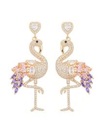 Fashion Purple Flamingo Micro-set Zircon Love Alloy Earrings