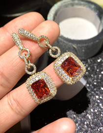 Fashion Red Micro-set Zircon Alloy Geometric Earrings