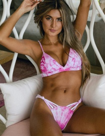 Fashion Pink Printed Hollow Low-rise Triangle Split Swimsuit