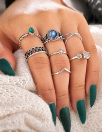 Fashion Silvery Open Ring Set With Gem Alloy Cross Flower