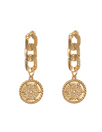 Fashion Golden Alloy Chain Round Flower Stud Earrings