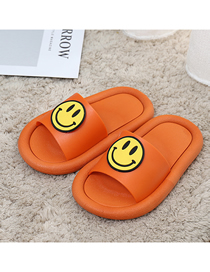 Fashion Caramel Colour Non-slip Smiley Face Indoor And Outdoor Parent-child Slippers