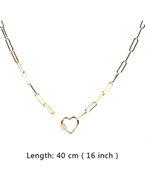 Fashion 40cm Thick Chain Necklace With Diamond Love Buckle