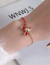 Fashion Golden Asymmetric Red Rope Stitching Oil Dripping Mouse Bracelet