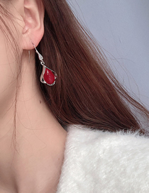 Fashion Red Diamond Drop Earrings With Diamonds