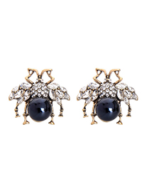 Fashion Blue Diamond Insect Stud Earrings