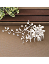 Fashion White Pure Hand-woven Flower Pearl Crystal Comb