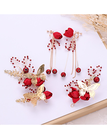 Fashion Red Alloy Butterfly Flower Crystal Hairband Earring Set