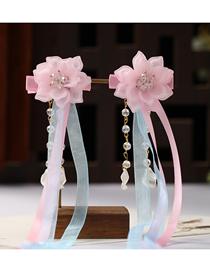 Fashion Pink Handmade Resin Flower Crystal Tassel Ribbon Children S Hairpin