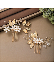 Fashion Golden Leaf Hand-woven Pearl Crystal Comb