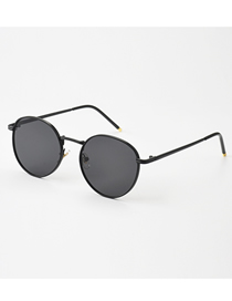 Fashion Black Frame Gray Round Ocean Sheet Metal Sunglasses For Men And Women