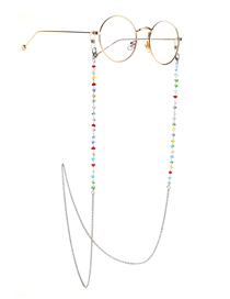 Fashion Silver Colorful Triangle Crystal Stainless Steel Chain Non-slip Glasses Chain