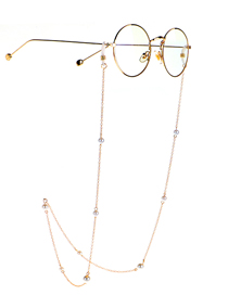 Fashion Golden Imitation Pearl Metal Silicone Anti-skid Glasses Chain