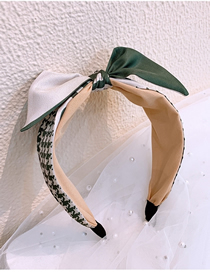 Fashion Green Houndstooth Wide-brimmed Color-coded Letter Bow Headband