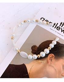 Fashion Golden Pearl Pearl Geometry Thin-edged Headband