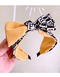 Fashion Yellow English Alphabet Color Matching Bowknot Wide Headband