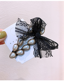 Fashion Water Drop Rhinestone Pearl Lace Bow Geometric Hair Clip
