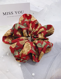 Fashion Red Flowers Seamless Silk Floral Bowel Hair Rope