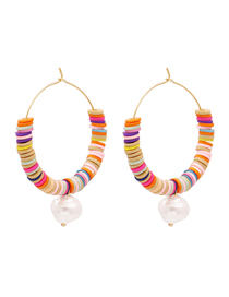 Fashion Color Mixing Waterdrop Pearl Handmade Rice Bead Earrings