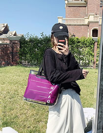 Fashion Purple Pvc Plastic Transparent Printed Shoulder Bag