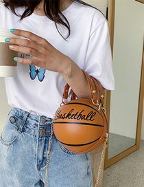 Fashion Brown Spherical Printed Letter Chain Shoulder Messenger Bag