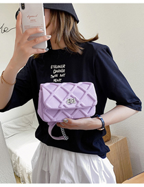 Fashion Purple Lingge Single Chain Lock Shoulder Messenger Bag