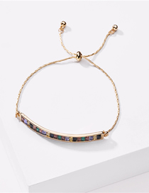 Fashion Golden Bronze Gold Wire Chain With Diamond Pull Adjustable Bracelet