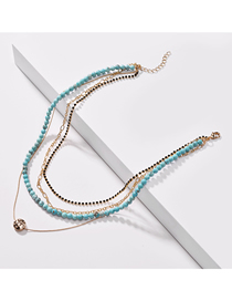 Fashion Blue Pine Natural Stone Bead Claw Chain Multilayer Necklace