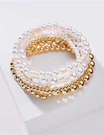 Fashion Gold + Pearl Set Of 6 Pearl Electroplated Round Elastic Strand Bracelets