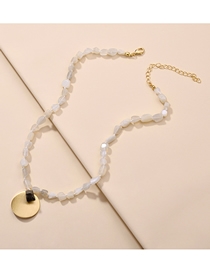 Fashion Powder Natural Stone Playing With Gold Short Necklace
