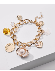 Fashion Golden Natural Shell Pearl Coin Water Drop Bracelet