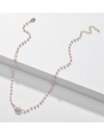 Fashion Pink Natural Shell Pearl Crystal Bead Alloy Necklace