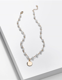 Fashion White Natural Stone Beads Alloy Chain Necklace