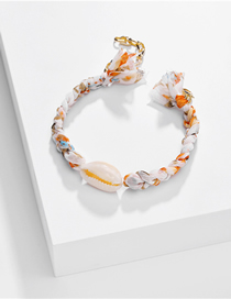 Fashion Orange Natural Shell Pearl Color Silk Braided Alloy Bracelet