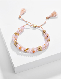 Fashion Pink Natural Stone Beads Tassel Pull-out Multi-layer Bracelet