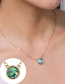 Fashion Golden Round Abalone Shell Alloy Necklace