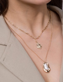 Fashion Golden Portrait Tag Zircon Pearl Multilayer Necklace