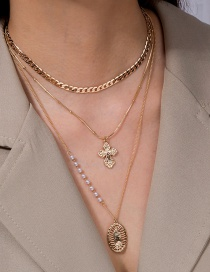 Fashion Golden Metal Texture Cross Pearl Multilayer Necklace