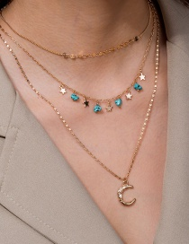 Fashion Golden Crescent Pendant Natural Turquoise Small Star Multi-layer Necklace