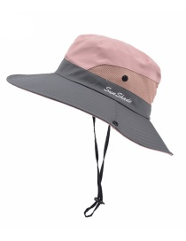 Fashion Bicolor Adult-pink Horsetail Hole Stitching Contrast Color Shrink Buckle Adult Fisherman Hat