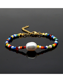 Fashion Color Mixing Natural Freshwater Pearl Rainbow Bead Bracelet