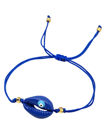 Fashion Royal Blue Eyes Natural Lacquered Shell Dripping Eye Braided Bracelet