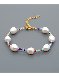 Fashion White Natural Freshwater Pearl Rice Beads Gold-plated Color-preserving Adjustable Bracelet