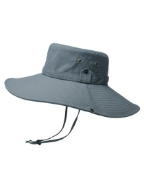 Fashion Dark Gray 12cm Oversized Eaves Sunscreen With Shrink Buckle Fisherman Hat