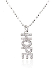 Fashion Platinum Copper Electroplated Zircon Letters Round Bead Chain Necklace